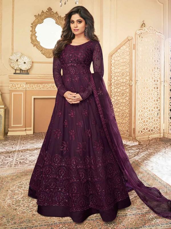 Wine Colour Party Wear Anarkali Salwar Suit in Silk,Net Fabric.