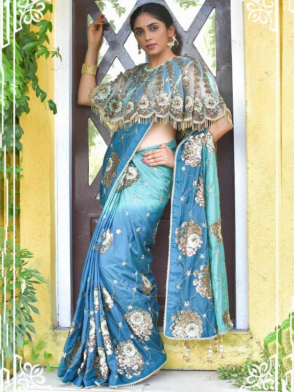 Blue Colour Silk Fabric Designer Saree.