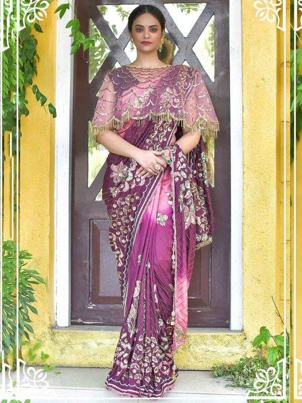 Wine Colour Silk Party Wear Saree.