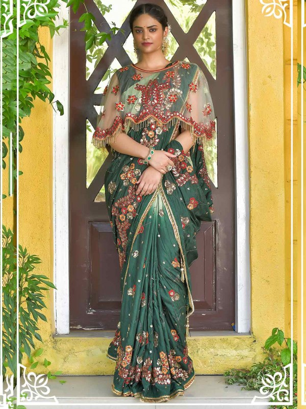 Green Colour Silk Designer Saree in Sequin Work.