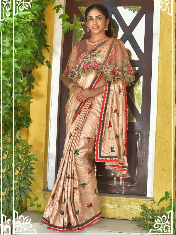 Dola Silk Designer Saree Golden Colour.