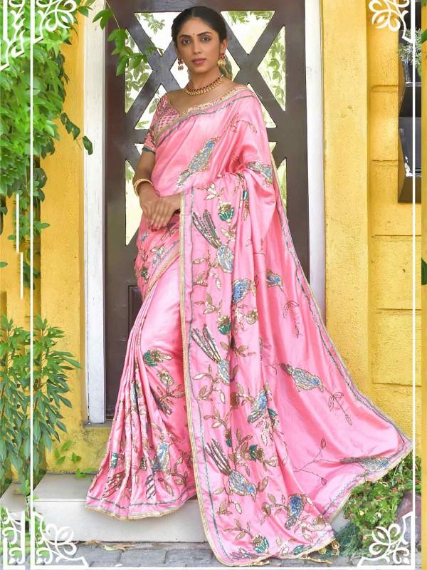 Pink Colour Silk Saree With Thread,Sequin Work.