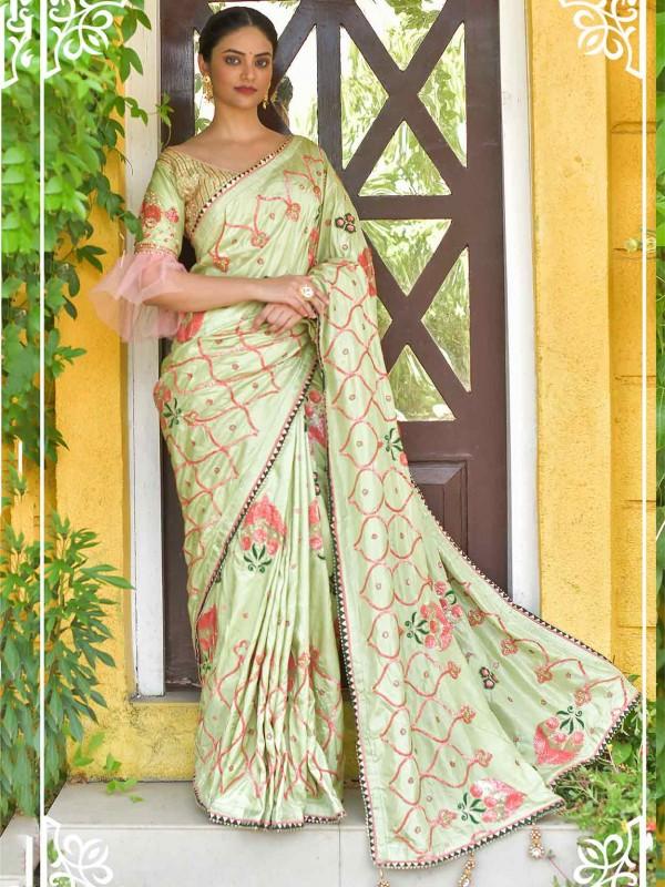 Pista Green Colour Silk Indian Designer Saree.