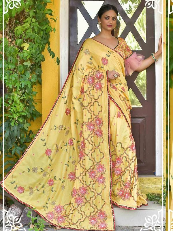 Yellow Colour Silk Saree With Zari,Sequin Work.