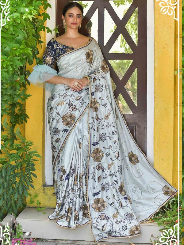 Grey Colour Silk Designer Saree.