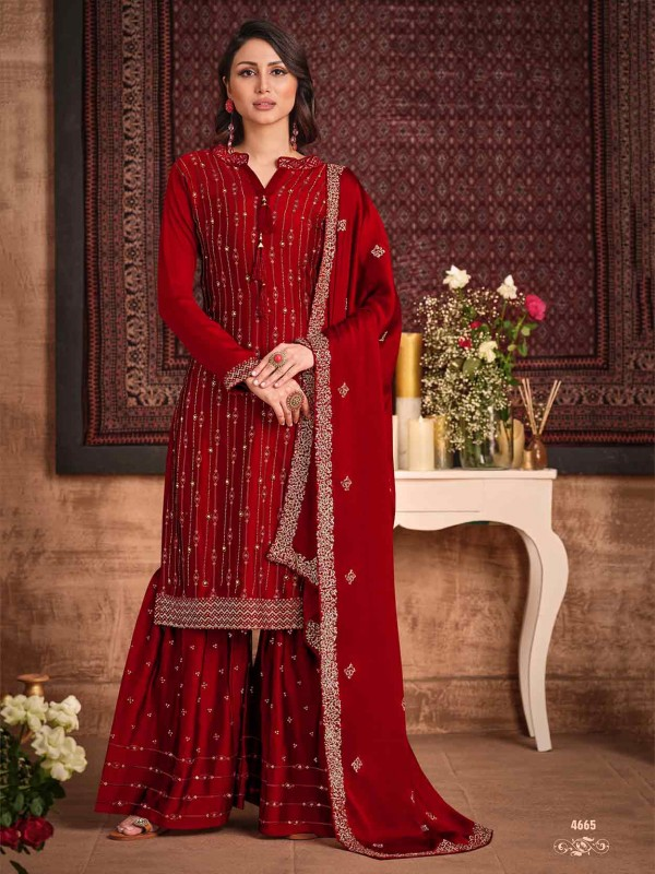 Maroon Colour in Silk,Georgette Fabric Sharara Salwar Suit.
