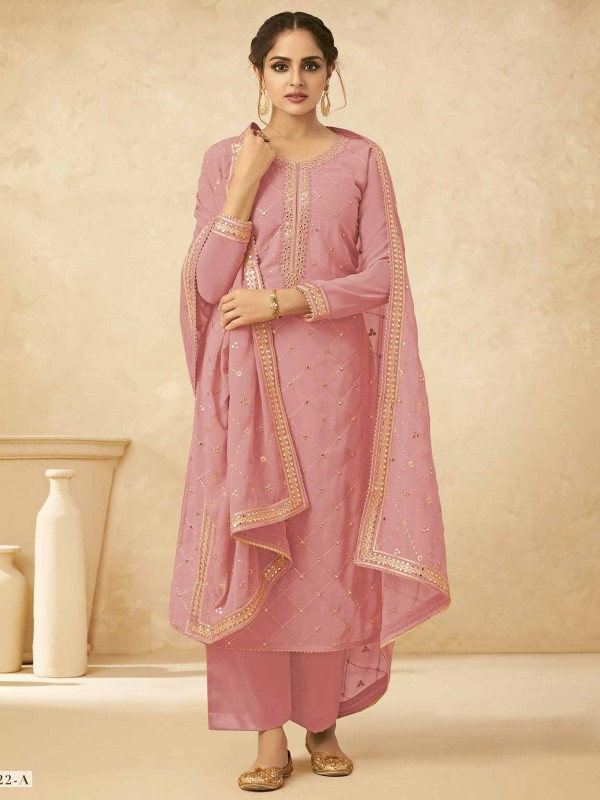Pink Colour Georgette Palazzo Salwar Suit.
