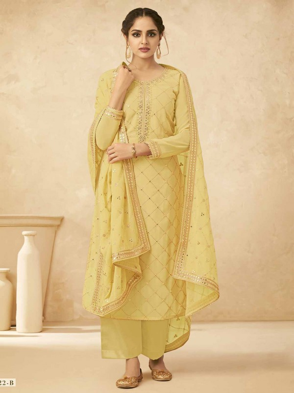 Georgette Palazzo Salwar Suit Yellow Colour.