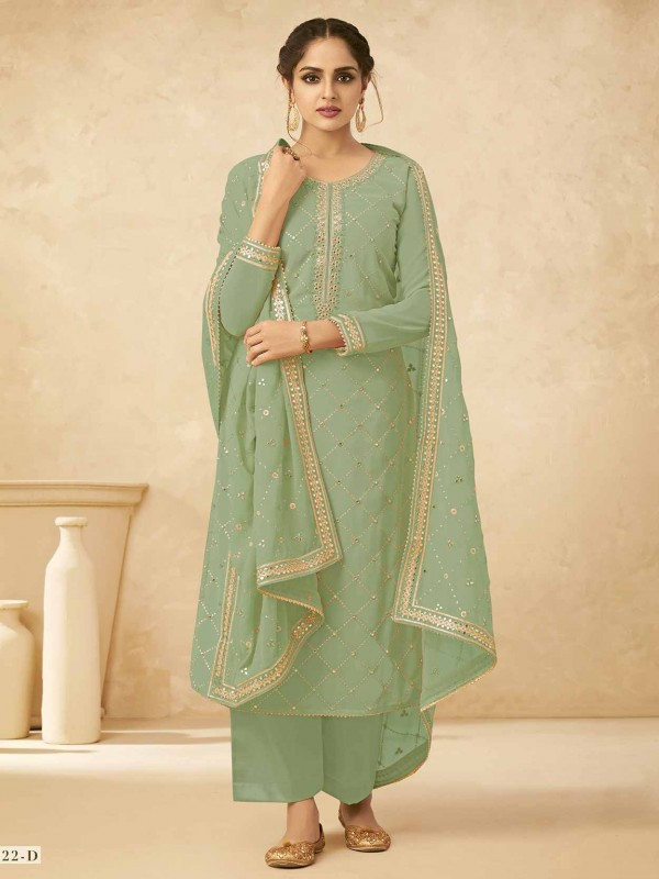 Green Colour Palazzo Salwar Suit in Georgette Fabric.