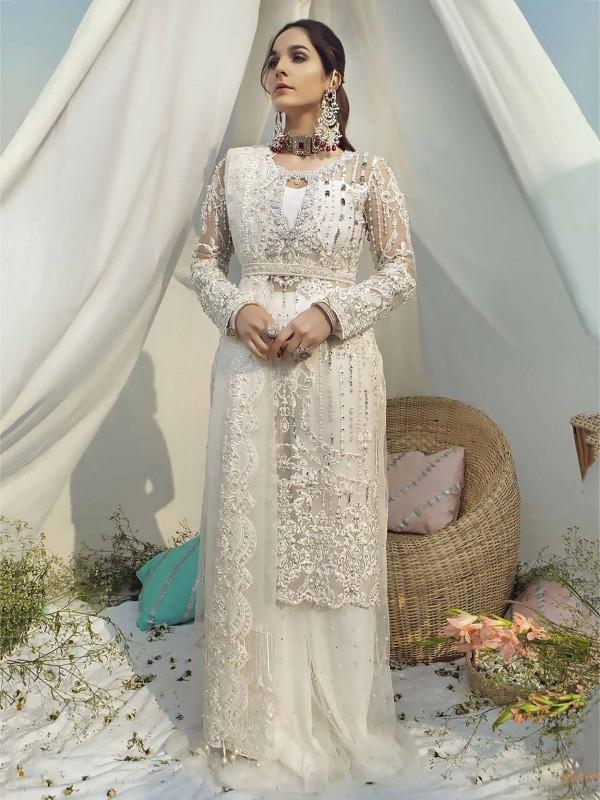 White Colour Net Fabric Designer Salwar Suit.