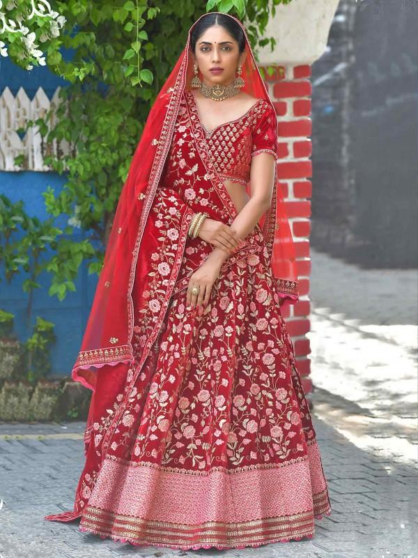 Red Colour Velvet Fabric Designer Bridal Lehenga Choli.