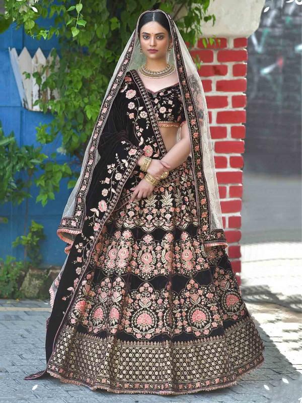 Velvet Lehenga Choli Black Colour in Zari,Resham Work.