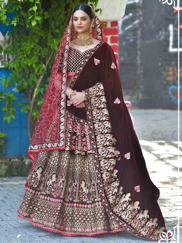 Maroon Colour Velvet Fabric Bridesmaid Lehenga Choli.