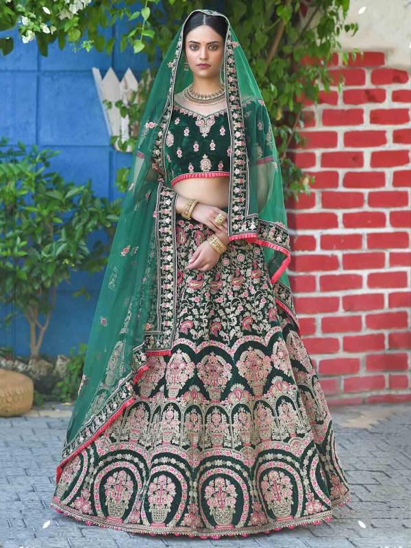 Green Colour Indian Designer Lehenga Choli Velvet Fabric.