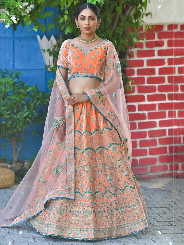 Orange Colour Velvet Designer Lehenga Choli.