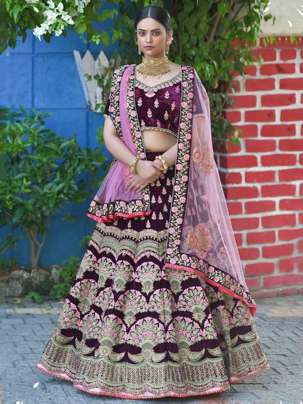 Velvet Fabric Indian Designer Lehenga Choli in Wine Colour.