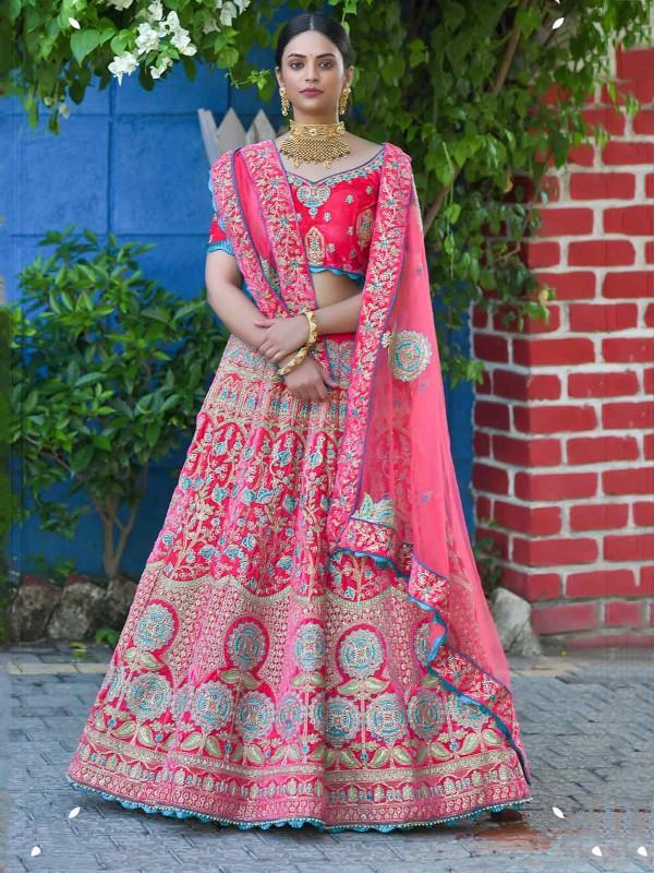 Pink Colour Indian Wedding Lehenga Choli Velvet Fabric.
