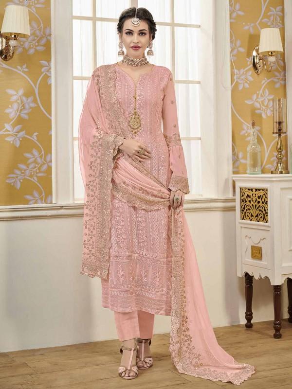 Pink Colour Georgette Fabric Designer Salwar Suit.