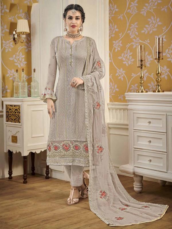 Georgette Fabric Salwar Suit Grey Colour.