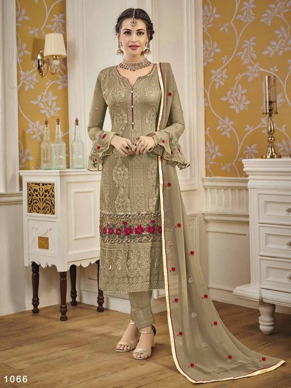 Brown Colour Georgette Fabric Designer Salwar Suit.