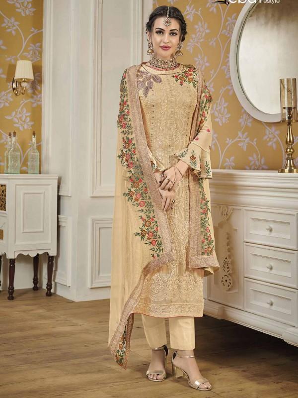 Cream Colour Georgette Fabric Women Salwar Suit.