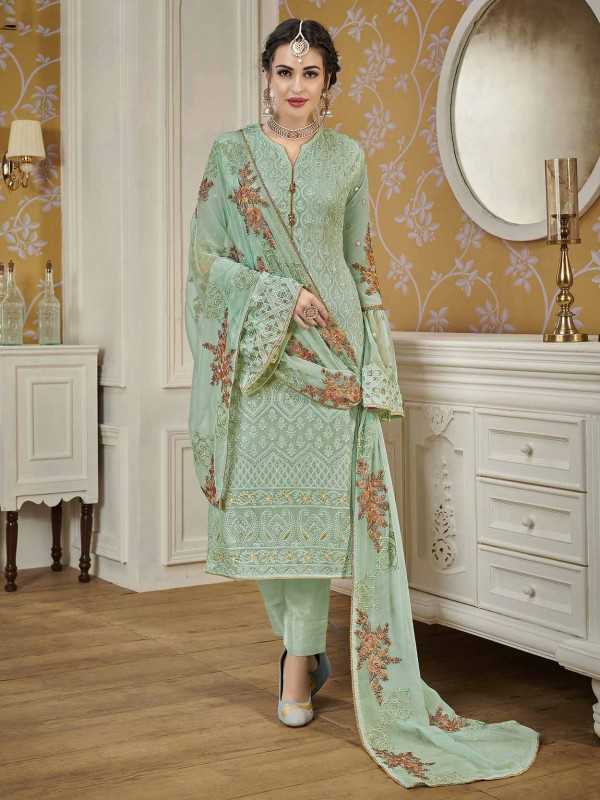 Designer Salwar Suit Turquoise Colour Georgette Fabric.