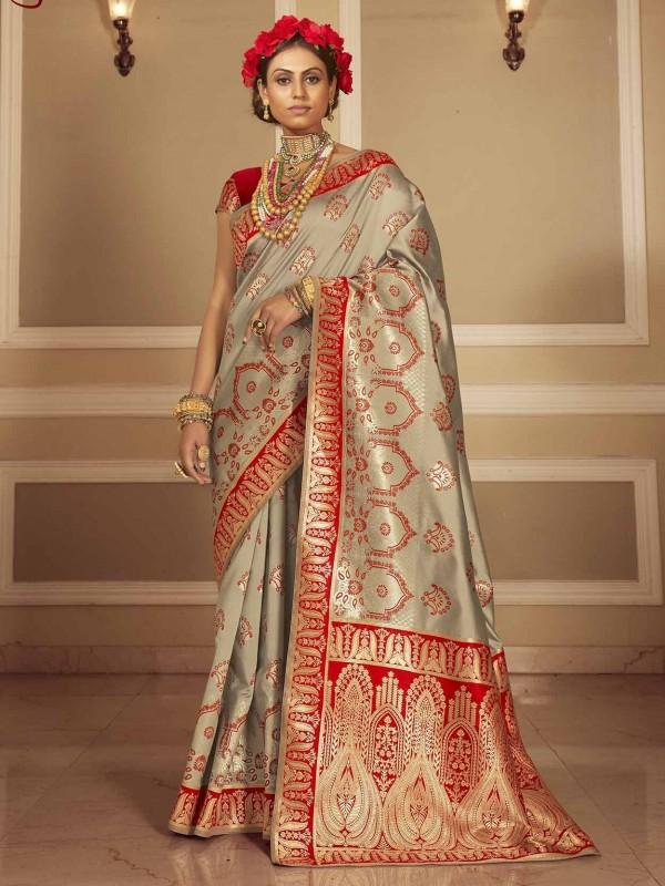 Grey Colour Banarasi Silk Designer Saree.