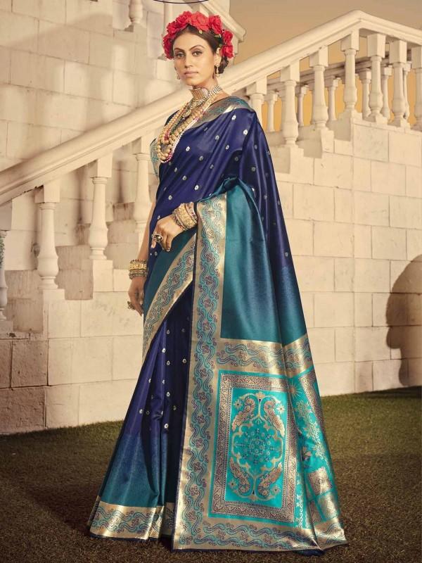 Navy Blue Colour Banarasi Silk Party Wear Saree.
