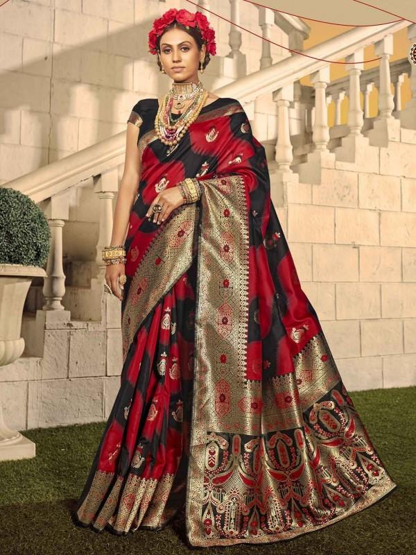 Banarasi Silk Designer Saree Red Colour.