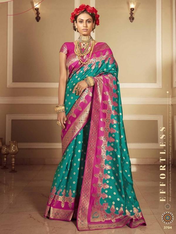 Rama Green Colour Banarasi Silk Fabric Saree.
