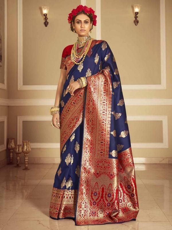 Blue Colour Banarasi Silk Saree.