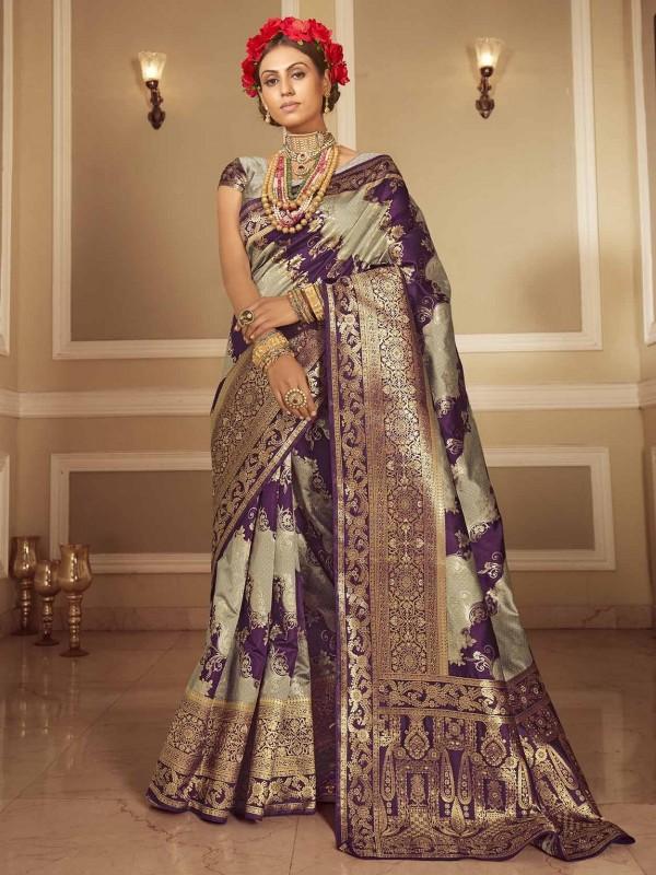 Purple Colour Banarasi Silk Traditional Saree.