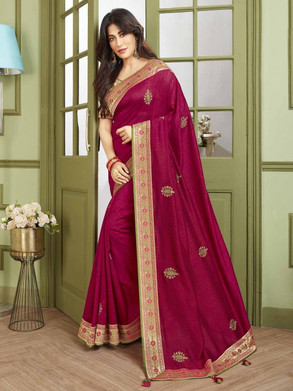 Red Colour Fancy Fabric Indian Wedding Saree.