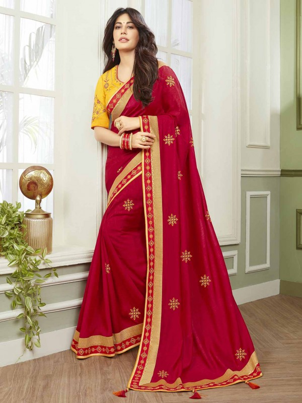 Fancy Fabric Indian Designer Saree Red Colour.