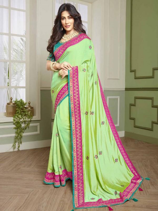 Pista Green Colour Designer Saree in Fancy Fabric.