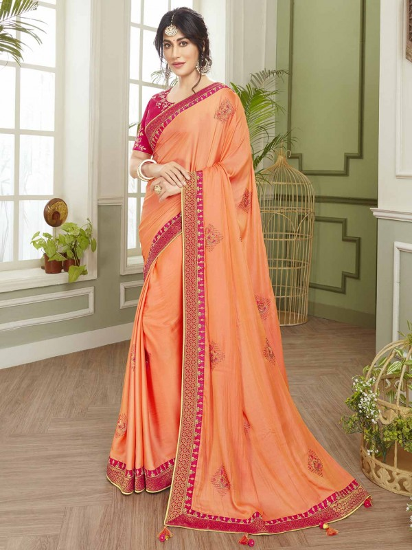 Orange Colour Indian Women Saree in Fancy Fabric.