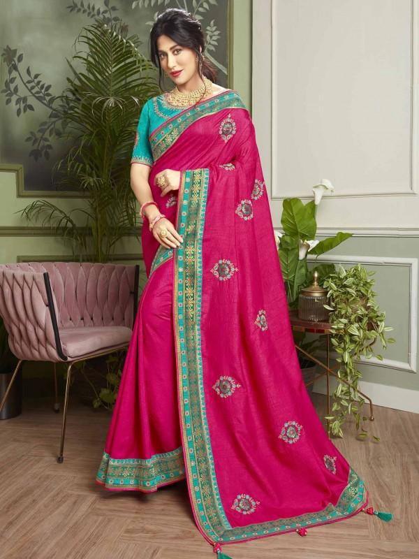 Red Colour Fancy Fabric Indian Designer Saree.