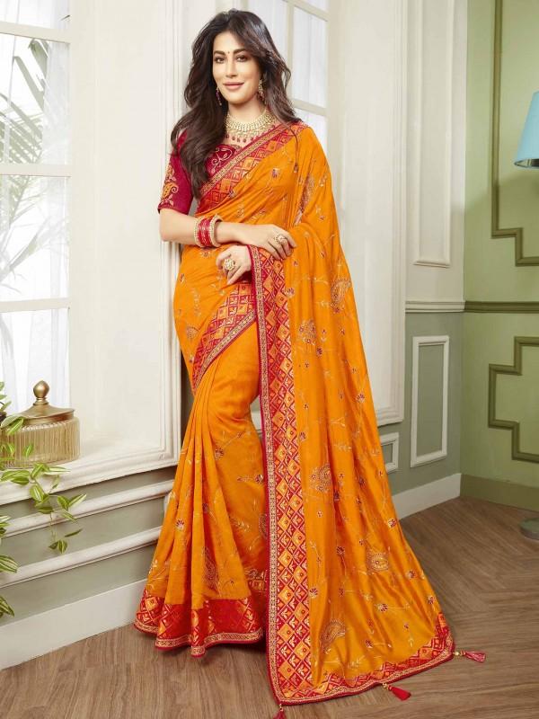 Orange Colour Designer Bridal Saree in Fancy Fabric.