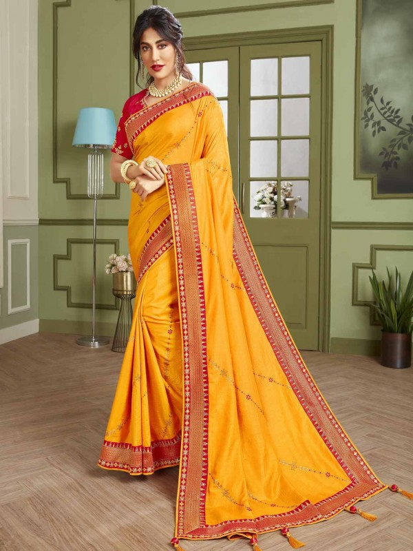 Yellow Colour Indian Traditional Saree in Fancy Fabric.