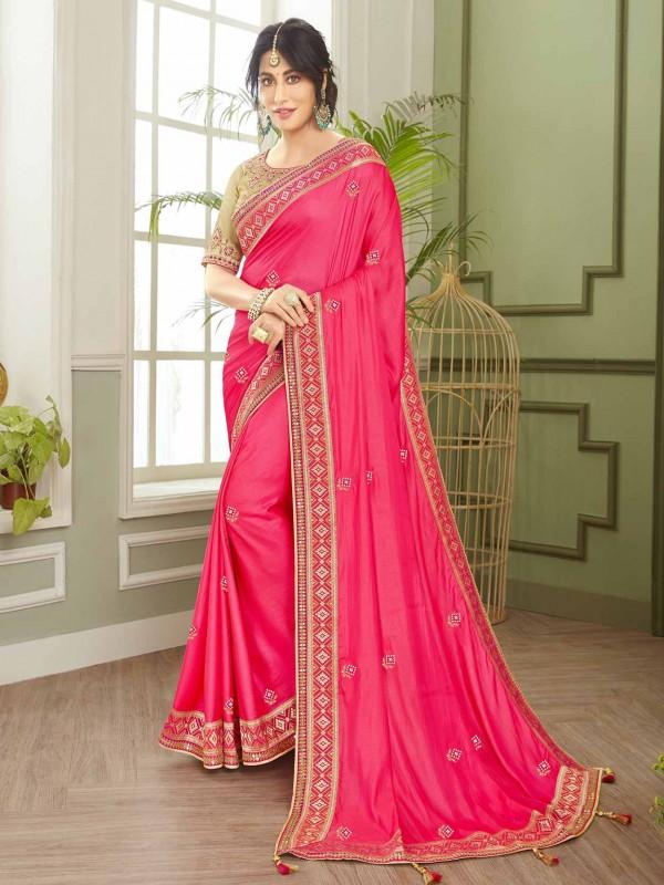 Pink Colour Designer Saree in Fancy Fabric.