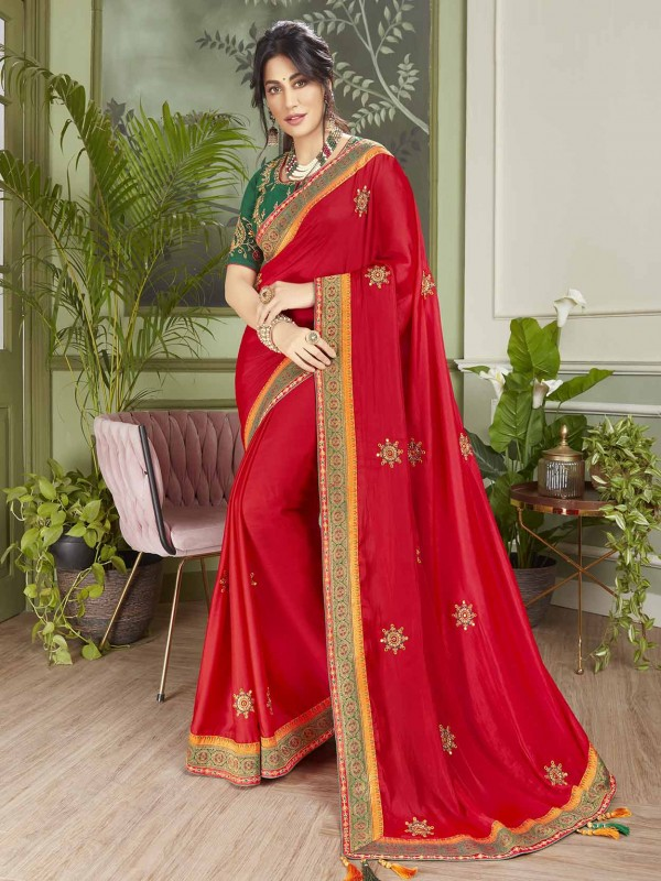 Indian Wedding Saree Red Colour in Fancy Fabric.