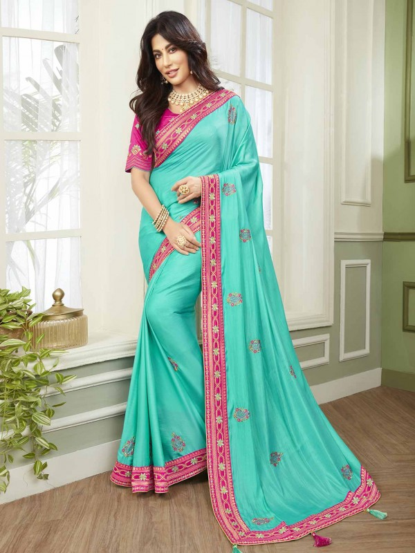 Turquoise Colour Fancy Saree.