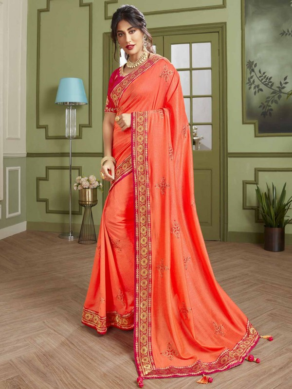Rust Colour Indian Women Saree in Fancy Fabric.