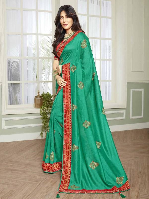 Green Colour Women Saree in Fancy Fabric.