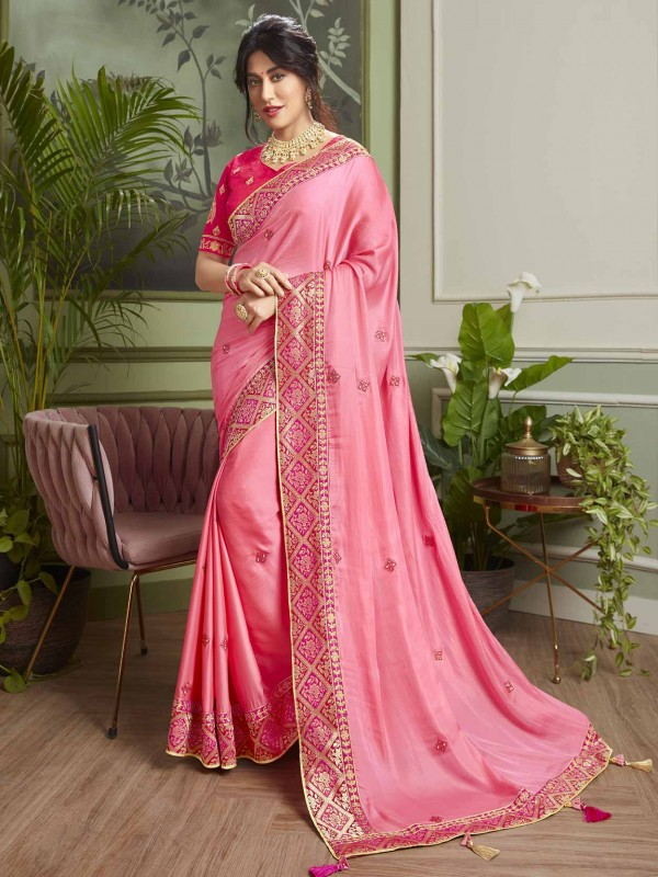 Pink Colour Indian Designer Saree in Fancy Fabric.