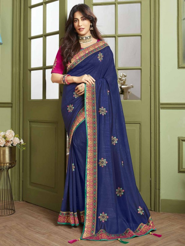 Blue Colour Party Wear Saree in Fancy Fabric.