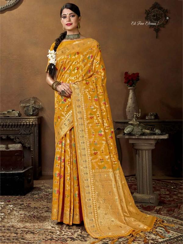 Yellow Colour Silk Designer Saree.