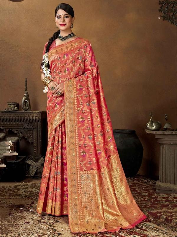 Maroon Colour Silk Weaving Saree.
