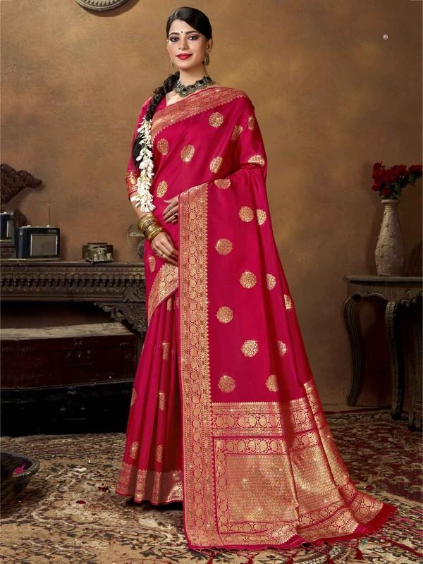 Red Colour Silk Indian Designer Saree.