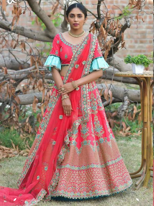 Pink Colour Silk Fabric Designer Bridal Lehenga Choli.